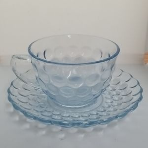 VTG Anchor Hocking Bubble Blue Cup Saucer